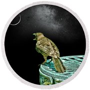 Talking To The Moon Round Beach Towel