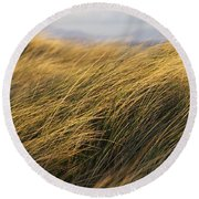Tall Grass Blowing In The Wind Round Beach Towel