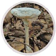 Tall Green Amanita Mushroom Round Beach Towel