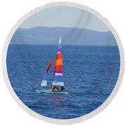 Tall Sail Round Beach Towel