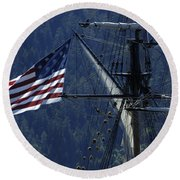 Tall Ship 3 Round Beach Towel by Bob Christopher