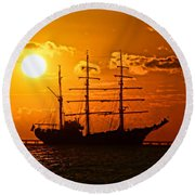 Tall Ship At Sunset Round Beach Towel