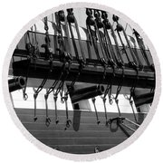 Tall Ship Canons Black And White Round Beach Towel