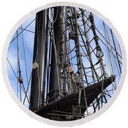 Tall Ship Mast Round Beach Towel