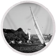 Tall Ship Race 1 Round Beach Towel
