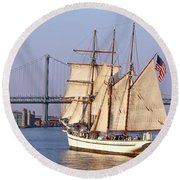 Tall Ship Three Round Beach Towel