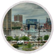 Tall Ships At Baltimore Inner Harbor Round Beach Towel