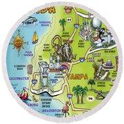Tampa Florida Cartoon Map Round Beach Towel
