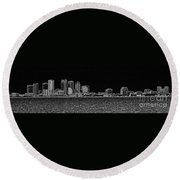 Tampa Panorama Digital - Black And White Round Beach Towel