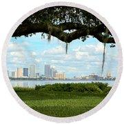Tampa Skyline Through Old Oak Round Beach Towel