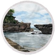 Tanah Lot Temple II Bali Indonesia Round Beach Towel