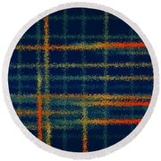 Tangerine Plaid Round Beach Towel by Bonnie Bruno