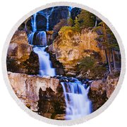 Tangle Falls At Dusk, Jasper National Round Beach Towel