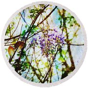 Tangled Wisteria Round Beach Towel