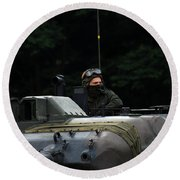 Tank Commander Of A Leopard 1a5 Mbt Round Beach Towel