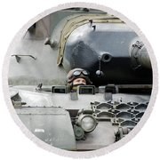 Tank Driver Of A Belgian Leopard 1a5 Round Beach Towel