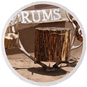 Taos Drum Shop Round Beach Towel