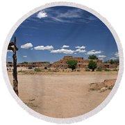 Taos Pueblo New Mexico Round Beach Towel