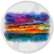 Taos Sunset Iv Watercolor Round Beach Towel