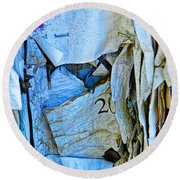 Tattered Paper On A Bulletin Board No.1045 Round Beach Towel