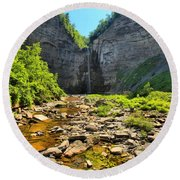 Taughannock Falls Canyon Round Beach Towel