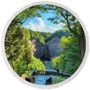 Taughannock Falls Overlook Round Beach Towel