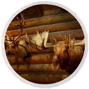Taxidermy - The Hunting Lodge  Round Beach Towel