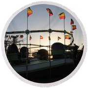 Tea Cups At Sunset Round Beach Towel