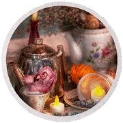 Tea Party - I Would Love To Have Some Tea  Round Beach Towel by Mike Savad