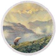 Tea Picking - Darjeeling - India Round Beach Towel