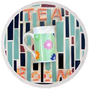 Tea Room Round Beach Towel