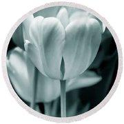 Teal Luminous Tulip Flowers Round Beach Towel
