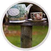 Teapot And Tea Cup On Old Post Round Beach Towel