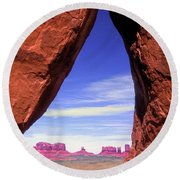 Teardrop Arch Monument Valley Round Beach Towel
