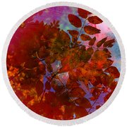 Tears Of Leaf  Round Beach Towel by Empty Wall