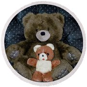 Teddy Elder Care Bear Round Beach Towel