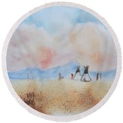 Teepees - Watercolor Round Beach Towel