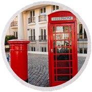 Telephone And Post Box Round Beach Towel