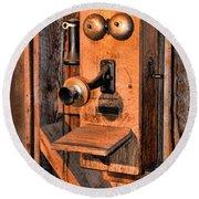 Telephone - Antique Hand Cranked Phone Round Beach Towel