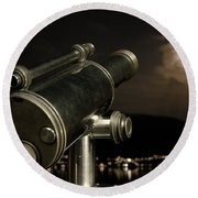 Telescope And Red Moon Round Beach Towel