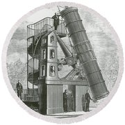 Telescope At The Paris Obervatory Round Beach Towel