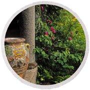 Temple And Garden Urn, The Wild Garden Round Beach Towel