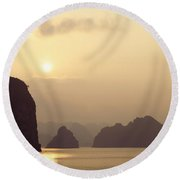 Temple At Sunset In Halong Bay Round Beach Towel