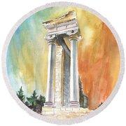 Temple Of Apollo In Kourion Round Beach Towel