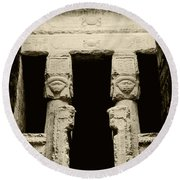 Temple Of Hathor Round Beach Towel