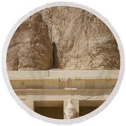 Temple Of Hatshepsut Round Beach Towel