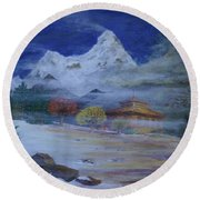 Temple Of The Snows Round Beach Towel