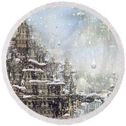 Temples Of The North Round Beach Towel