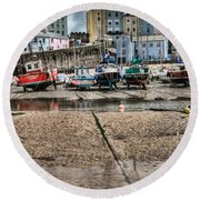 Tenby Harbour 2 Round Beach Towel