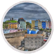 Tenby Harbour In Summer 2 Round Beach Towel